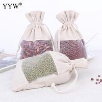 50pcs/Bag Cotton Fabric Drawstring Pouches With Organza Waxed Cotton Cord Christmas Wedding Gift Bag Jewelry Cloth Packaging