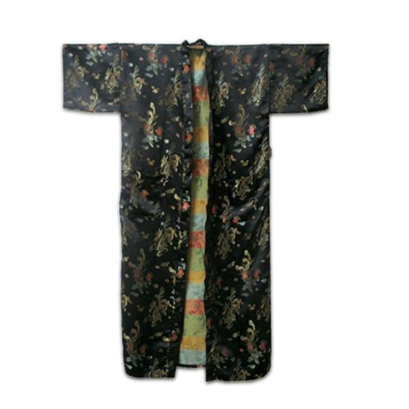 New Arrival Black Male Silk Robe Gown Chinese Vintage Printed Nightwear Fashion Kimono Dropshipping Size S M L XL XXL  ZR24