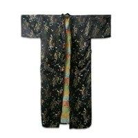 Nuovo Arrivo Maschio Nero abito Di Seta Dell'abito Cinese Vintage Stampato indumenti da letto Moda Kimono Dropshipping Taglia S M L XL XXL ZR24