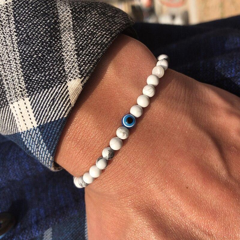 Fashion 4mm Natural Stone Beads Evil Eye Bracelet Handmade Hematite Turkish Evil Eye Braclet For Men Hand Jewelry Pulseras Homme