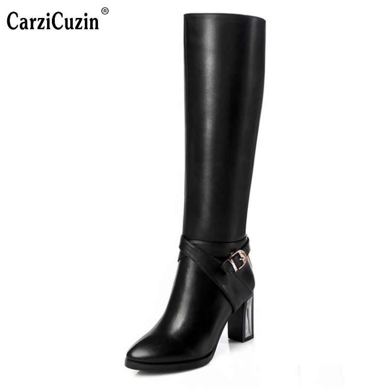 CarziCuzin Women Natrual Genuine Leather High Heel Knee Boots  Square Toe Zipper Brand Heels Footwear Shoes Size 31-45 N00066CarziCuzin Women Natrual Genuine Leather High Heel Knee Boots  Square Toe Zipper Brand Heels Footwear Shoes Size 31-45 N00066