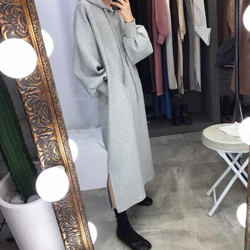 GALCAUR décontracté sweat à capuche robe lanterne à manches longues Ovesized Midi robes à capuche femme 2019 automne hiver grande taille