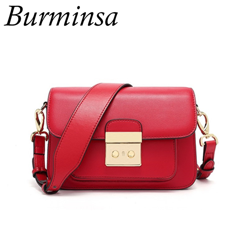 Burminsa Brand Women Genuine Leather Bags Casual Mini Double Strap Shoulder Bags Female Clutch Hand Bags Designer Crossbody Bags