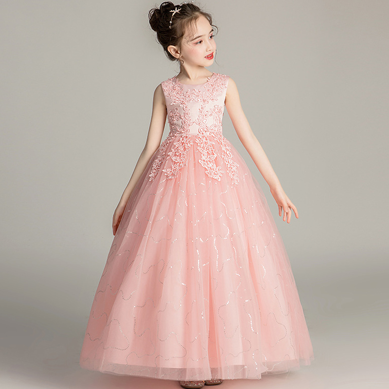 Girls'Campus Graduation Dance Party Long Dress Flower Girls Wedding Bridesmaids' Eucharist Party Length Bridesmaid Dress
