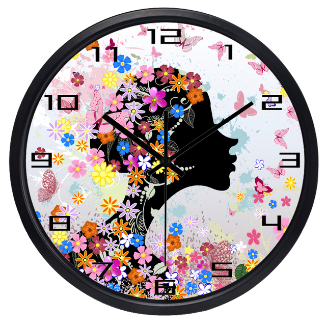 Pretty Women Lady Fo Girl Room Wall Clock Beauty Salon Stop Bedroom Make Up  Room Wall