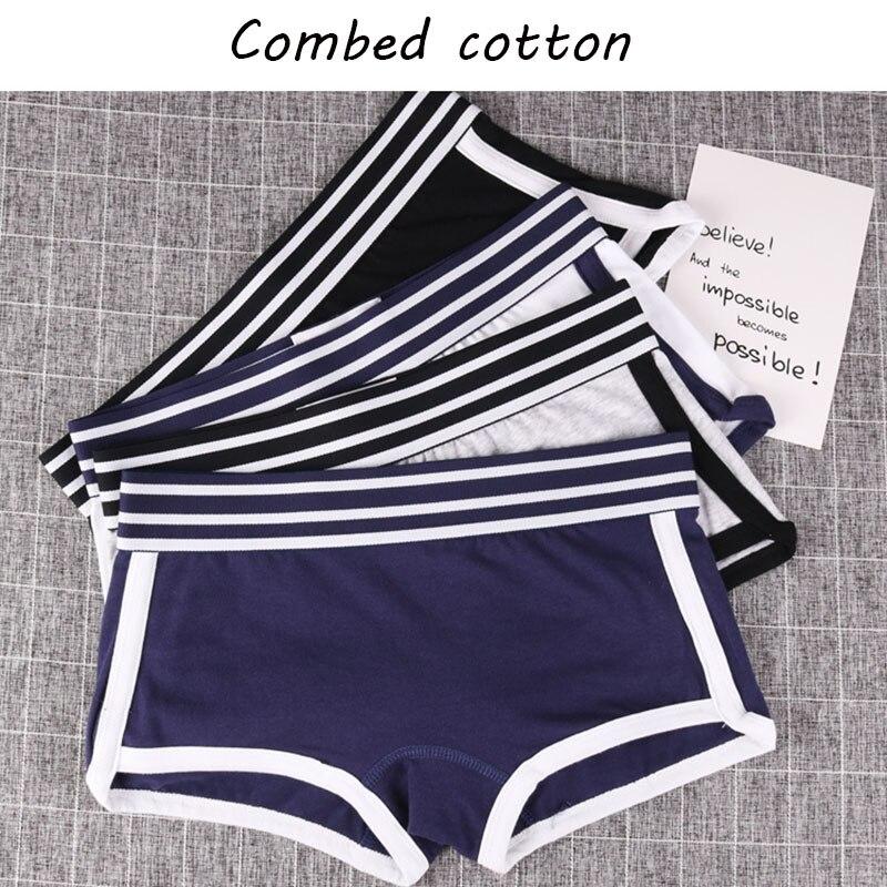 New design ladies girls Panties Mid-Waist Safety Short women Underwear Female boxer Breathable stripe belt Pants Multicolors