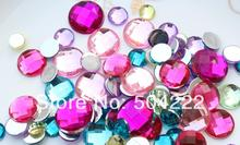 set of 300 pcs of Round Bling Fauceted Acrylic Rhinestone Gems - Assorted Colors 8-16mm