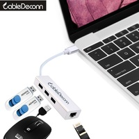 Usb3 1 To 3 Port USB 3 0 HUB 10 100 1000 Mbps USB To RJ45