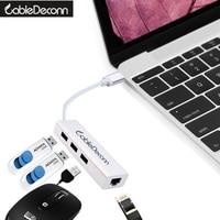 Usb3 1 To 3 Port USB 3 0 HUB 10 100 1000 Mbps USB To RJ45