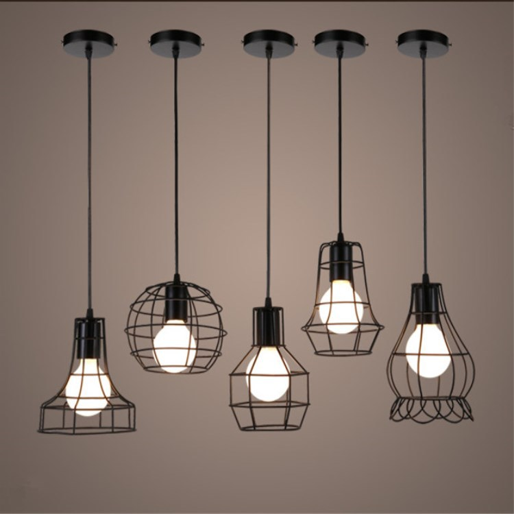 American Industrial Vintage living room Pendant Lights Iron Metal Loft black cage suspension lamp bedroom cafe indoor lighting new loft vintage iron pendant light industrial lighting glass guard design bar cafe restaurant cage pendant lamp hanging lights