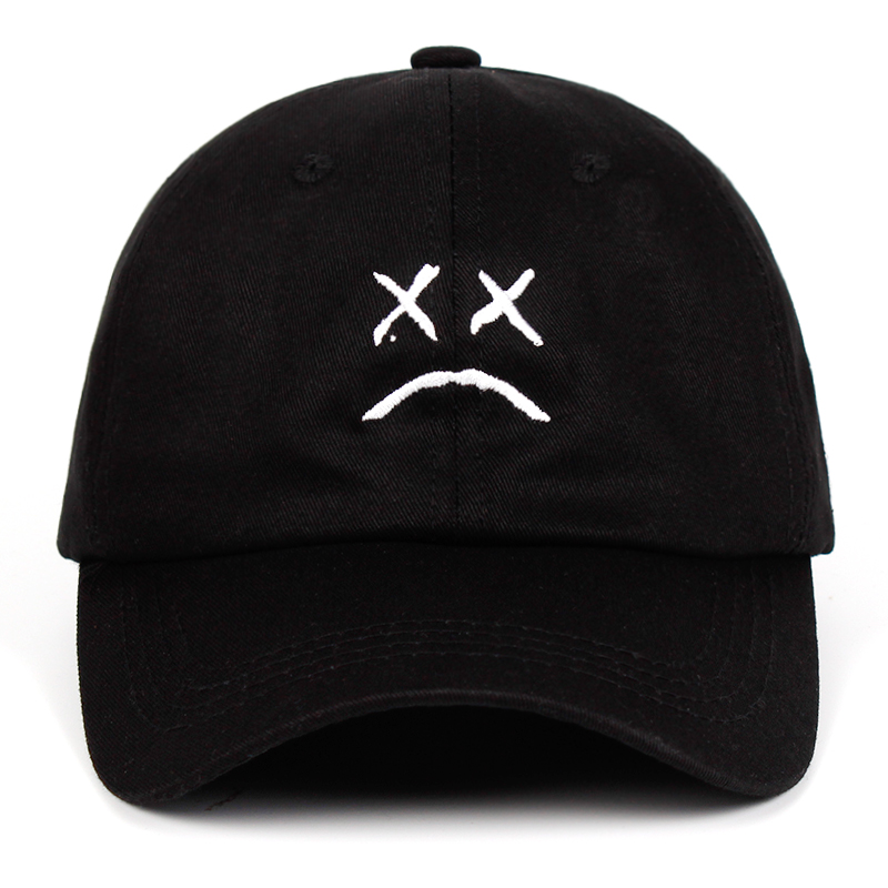 Lil Peep Dad Hat Embroidery 100% Cotton Baseball Cap Sad face Hat xxxtentacion Hip Hop Cap Golf Love lil.peep Snapback Women Men 2