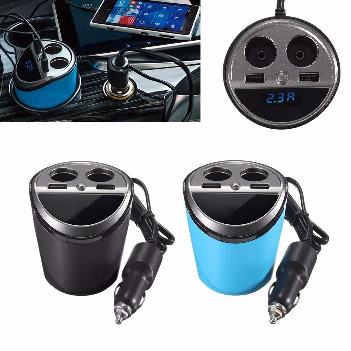 12-24V Output USB Charger Socket Car Cigarette Lighter Dual Cup Holder Adapter Power with LED Display