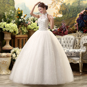 Image 3 - Fansmile 2020 Cheap Halter Lace Wedding Dress Vintage Vestidos de Novia Plus Size Bride Dress Under $100 Free Shipping FSM 040F