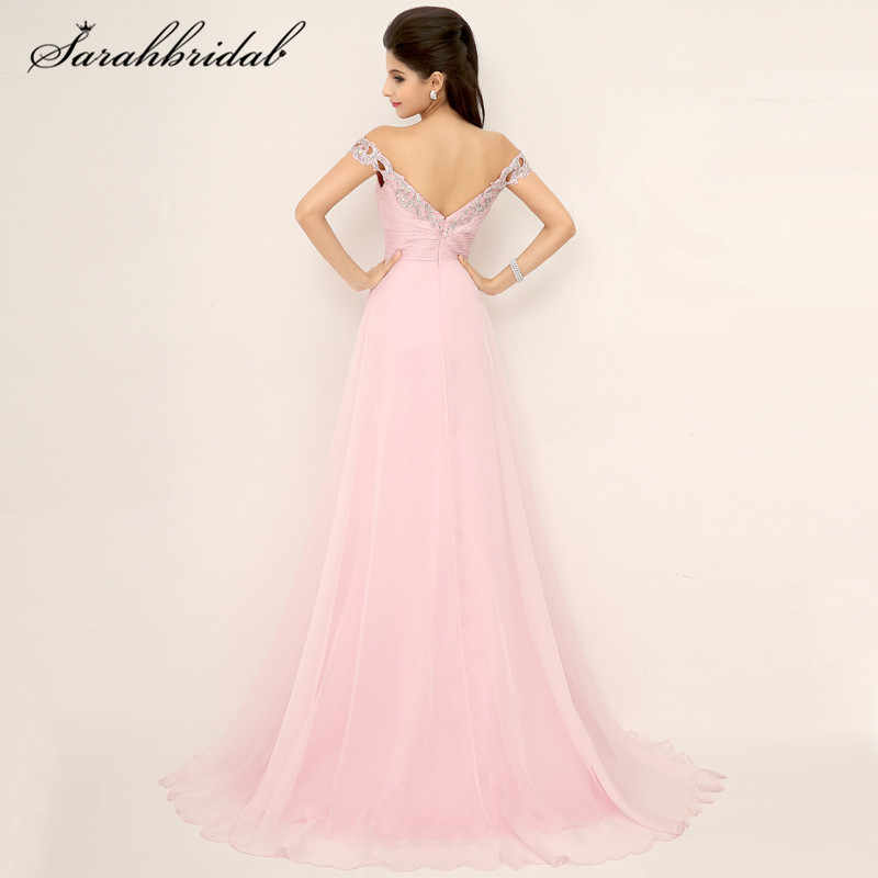 6c616635e263 ... Elegant Sexy Pink Chiffon Long Prom Dresses V-Neck Split Side Backless  Off-The ...