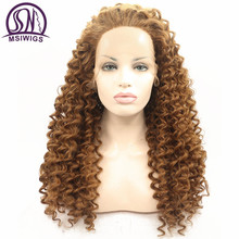 MSIWIGS Long Brown Curly Lace Front Wigs for Black Women Heat Resistant Natural Afro Synthetic Wig Hand Crochet Hair