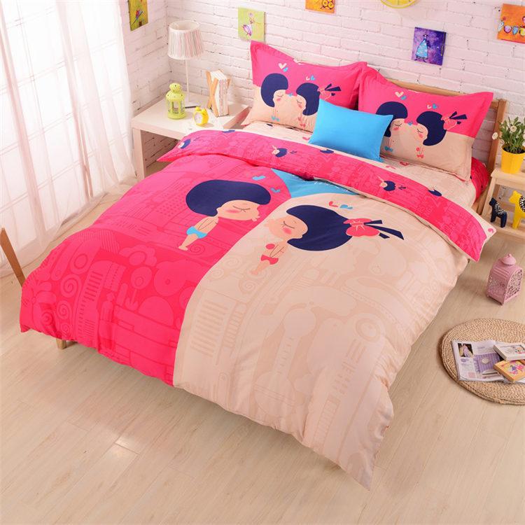 romantic love wedding bedding set couples in love cartoon duvet cover cotton diagonal princess bed sheet printed bed linen queen