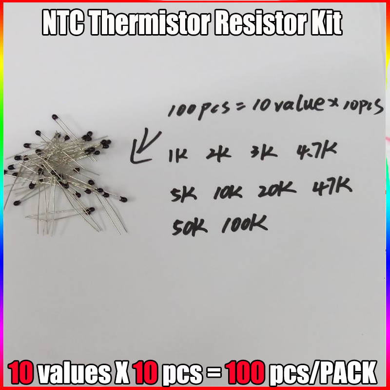 100pcs=10value*10pcs NTC Thermistor Resistor Kit NTC-MF52AT 1K 2K 3K 4.7K 5K 10K 20K 47K 50K 100K +-5% 3950B