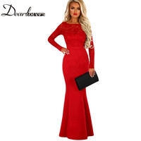 Dear Lovers New Lace Maxi Dress For Women Red Lace Long Sleeve Bow Back Maxi Dress