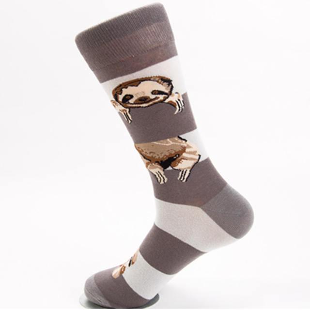 PEONFLY Personality Fashion Printing Cartoon Animals Sloth Pattern Stripe Socks Men High Quality Ventilation Cotton Socks Winter