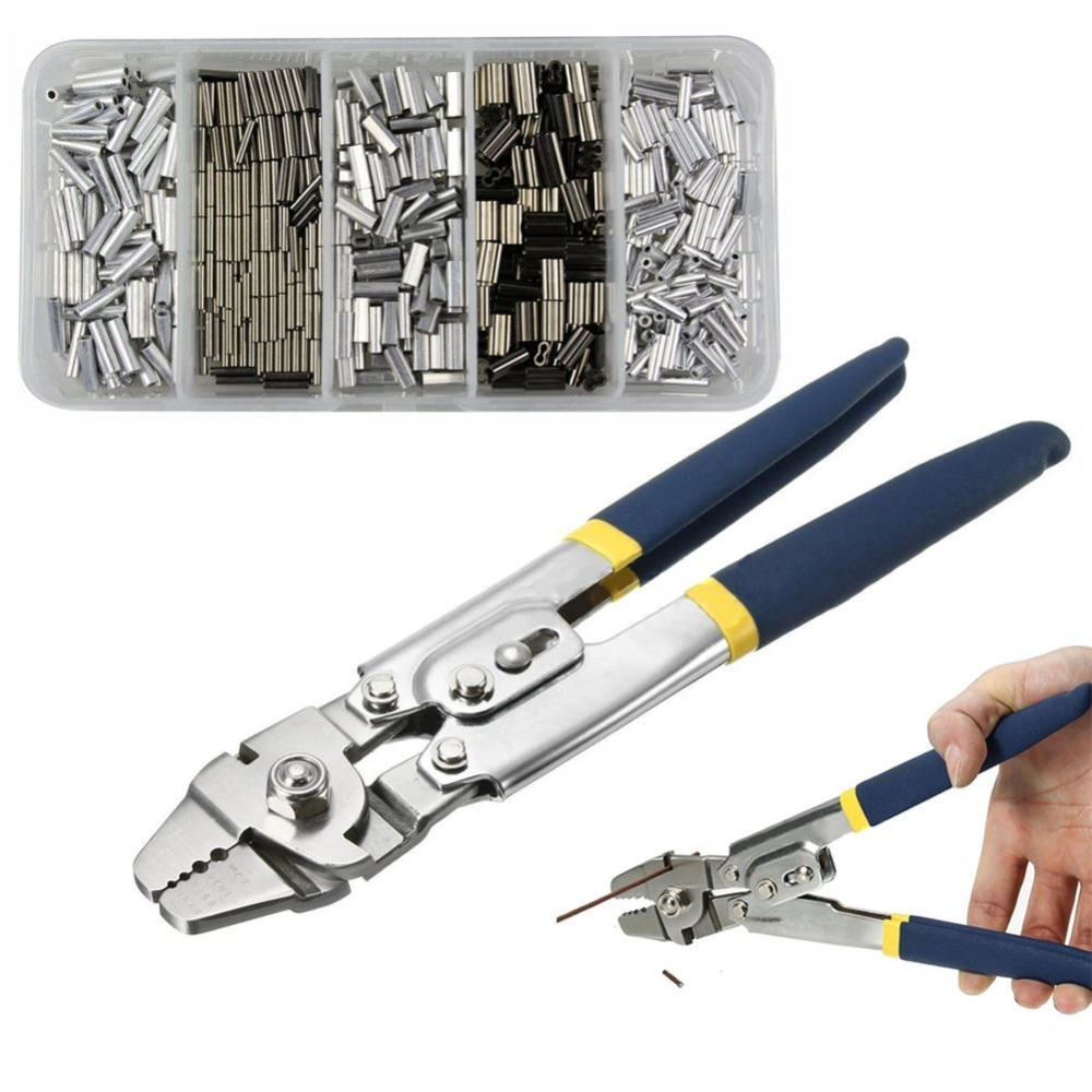 Stainless Steel Crimper Sleeves Tool Kit For Fishing Plier With 500PCS Crimp Sleeves Connector Fishing Line Accessories Щипцы