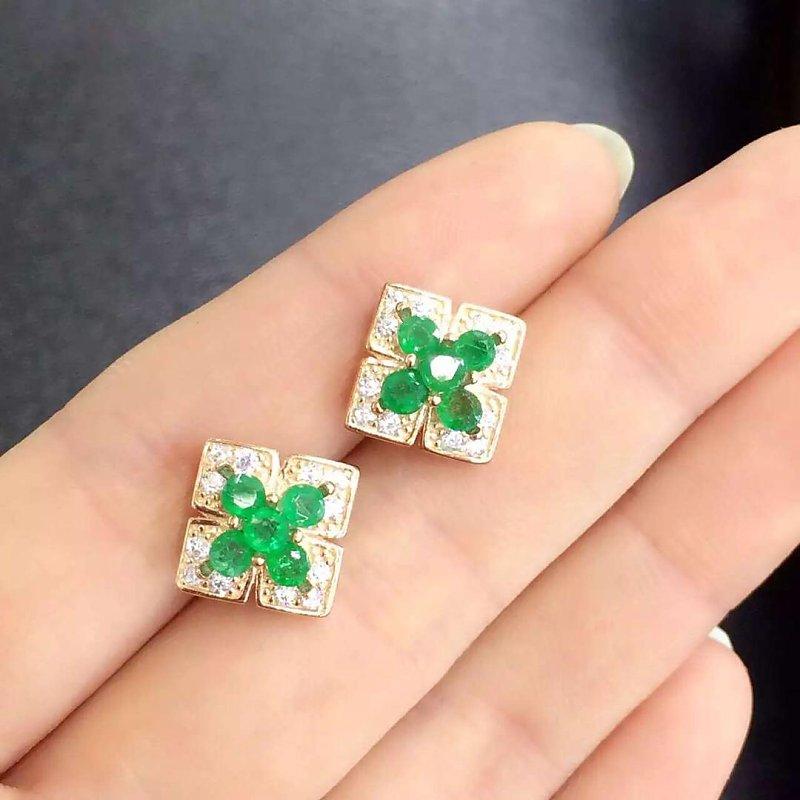 Brincos Qi Xuan_Fashion bijoux _ colombie boucles d'oreilles élégantes en pierre verte _ boucles d'oreilles couleur or rose _ ventes directes d'usine