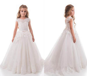 Dresses Ball-Gown First-Communion-Dress Flower-Girls Applique Wedding-Lace Birthday-Pageant