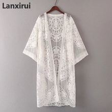 White Lace Boho Kimono Cardigan Women Sheer Longline Vacation Top 2018 Summer Plain Casual Beach Kimono