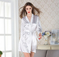 women's solid color silk robe with lace neck sexy bridesmaid robes homewear robe for women