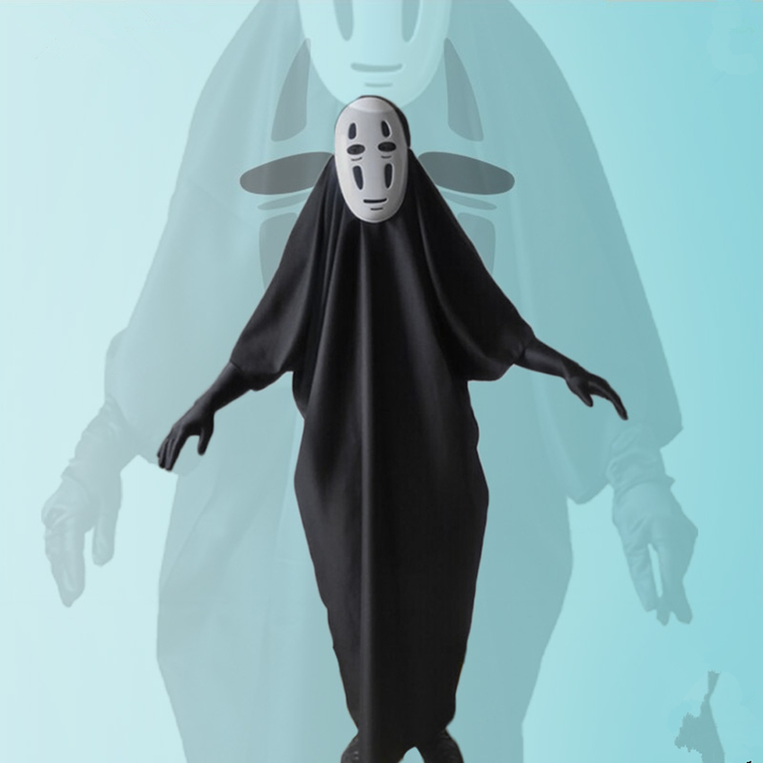 s xxl new arrival polyester man cartoon spirited away slender man costume black long clothing unisex halloween cosplay xm169716 - Halloween Costume Slender Man