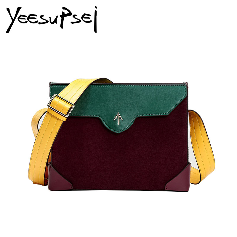YeeSupSei Genuine Leather Wide Strap Messenger Bag Women Fashion Shopping Shoulder Bag Color Piece Envelope Small Clutch Handbag yeesupsei daily bag women leather handbag golden chain small women messenger bag candy color women shoulder bag party lock purse