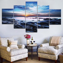 Modular Canvas Prints Paintings Home Decor 5 Pieces Blue Sky Seaside Reef Pictures Sunset Seascape Poster Wall Art Frame Artwork seaside sunset sandbeach printed split unframed canvas paintings