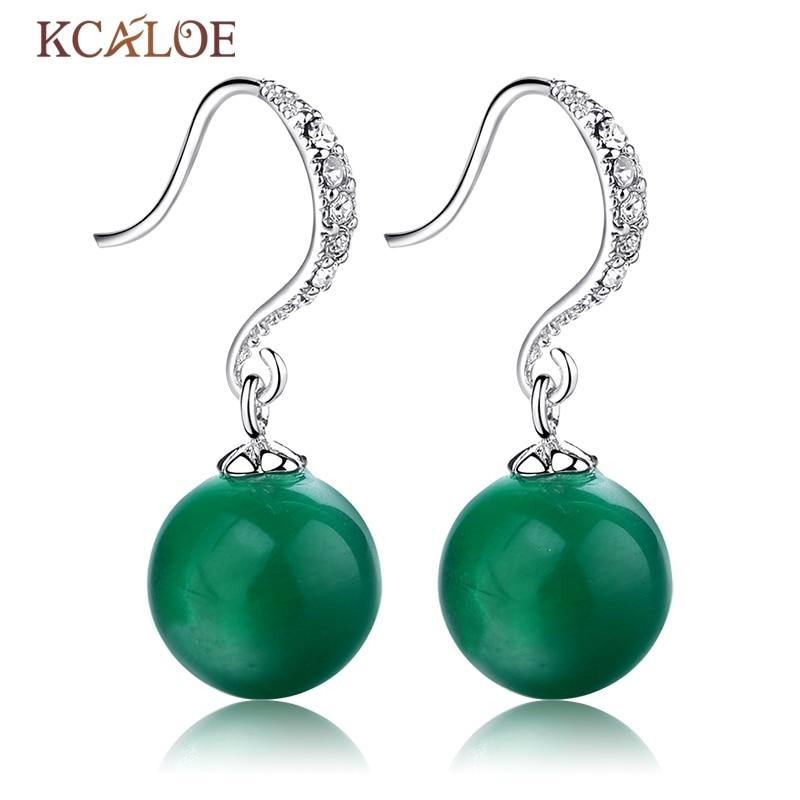 KCALOE Green Opal Drop Earrings Wedding For Brides Natural Stone Vintage Crystal Rhinestone Silver Color Women Hanging Earrings