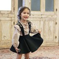 New Kids Girls Classic Embroider Ruffles Suspender Dress Lantern Sleeve Tees Western Princess Party Clothing