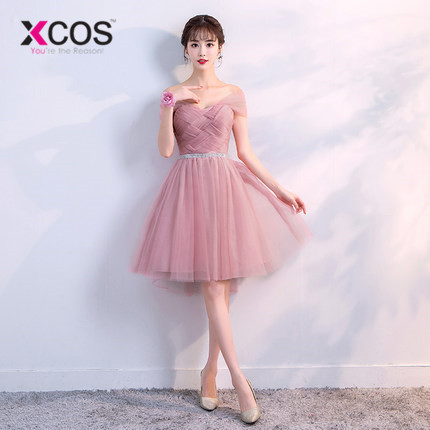 XCOS 6 Styles Dusty Pink   Bridesmaid     Dresses   Short Lace cheap Formal Prom Party   Dresses   Vestidos De Noiva Robe De Mariage