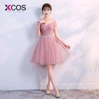 3b57b9d1d07 XCOS 6 Styles Dusty Pink Bridesmaid Dresses Short Lace Cheap Formal Prom  Party Dresses Vestidos De