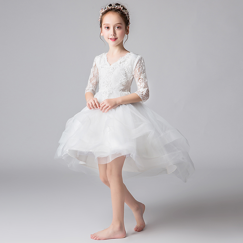 bfe3c5352e0c2 IYEAL Princess Flower Girl Dresses for Weddings 2019 V- Neck Lace Half  Sleeve Little Girls. sku: 32974125891