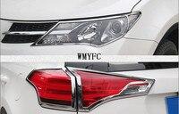 For 2014 2015 Toyota RAV4 Chrome Front Rear Headlight Taillight Head Light Tail Lamp Cover Trim Molding Garnish Frame Bezel