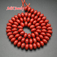 Perfect UFO Shape 5x8mm Red Color Natural Semi Precious Stone Roundel Strand Loose Beads For Jewelry