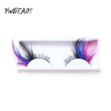 Exaggerated Color False Eyelashes Stage Performance Art Studio Makeup Eye Lashes  Thick Feather Fake Eyelashes exaggerated eye tail lengthening thick reusable false eyelashes