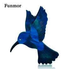 FUNMOR Resin Abalone Shell Blue Woodpecker Brooch Acrylic Handmade Vivid Animal Brooches For Women Kids Large Hijab Pins Jewelry