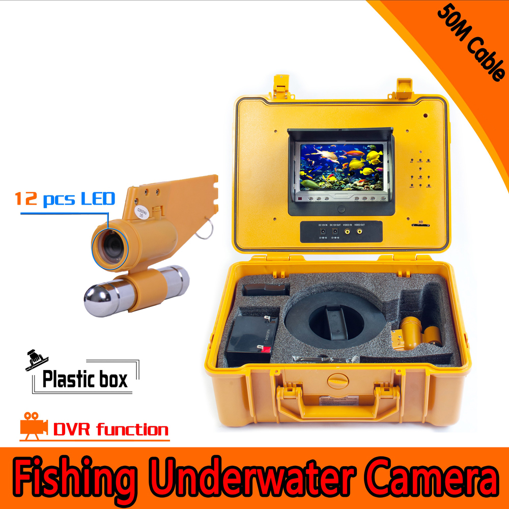 (1 set) 50M cable Underwater Fishing Camera DVR Function HD 1080P 12 white LED Fish Finder Waterproof Camera with 8GB card