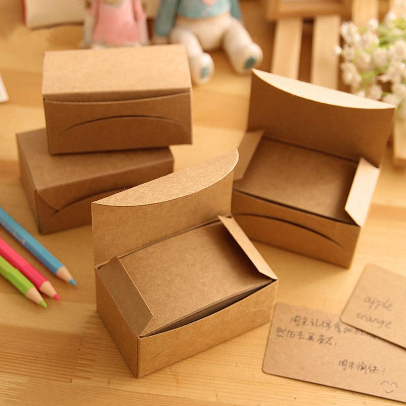 1Pcs Packed Korea Retro Thick Craft Paper Business Card Message Card Word Cards Jams Memo Pads H0427 lumiparty 100pcs double sided blank kraft paper business cards word card message card diy gift card 30