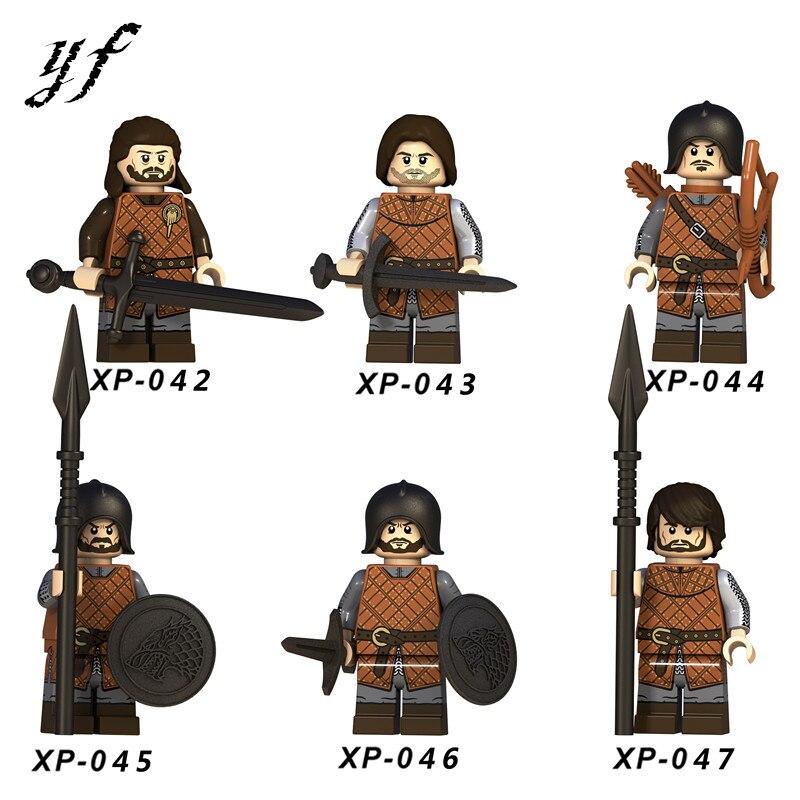 6Pcs/Set LegoING Game Of Thrones Action Minifigured Eddard Stark Spear Infantry Building Blocks Model Toys For Children CX042