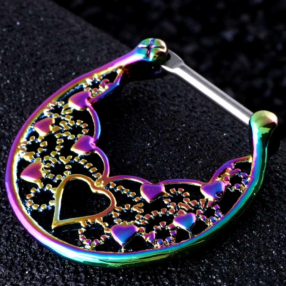 1pc New Nose Piercings Septum Clickers Titanium Shaft Rainbow ...