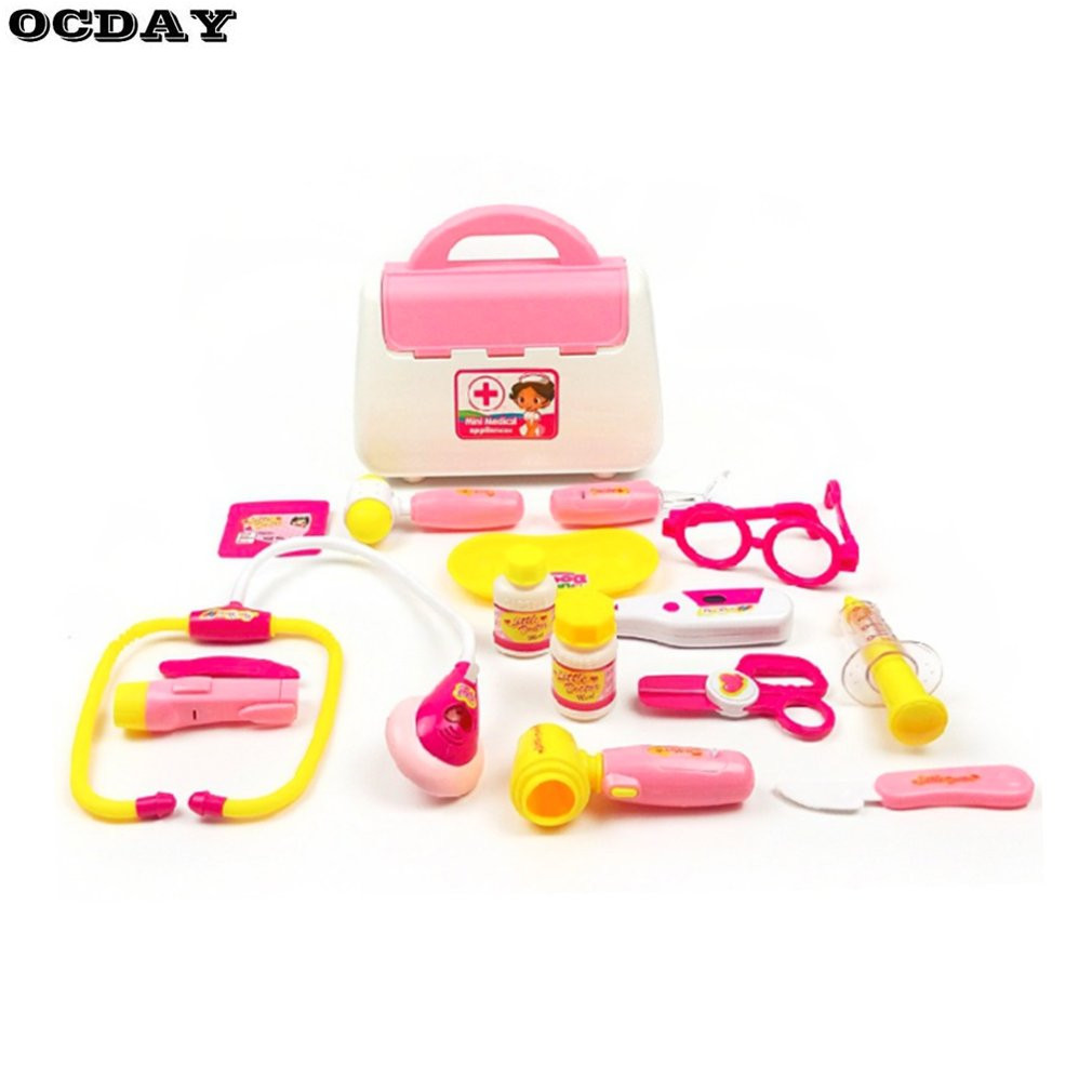 15PCS Pretend Doctor Nurse Medical Case Role Play Set Kids Early Education Toy Birthday Gifts With Light Sound Pretend Tool Toys