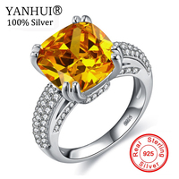 YANHUI Original Natural 6 Carat Zircon CZ Stone Ring 925 Sterling Silver Jewelry For Women Fashion