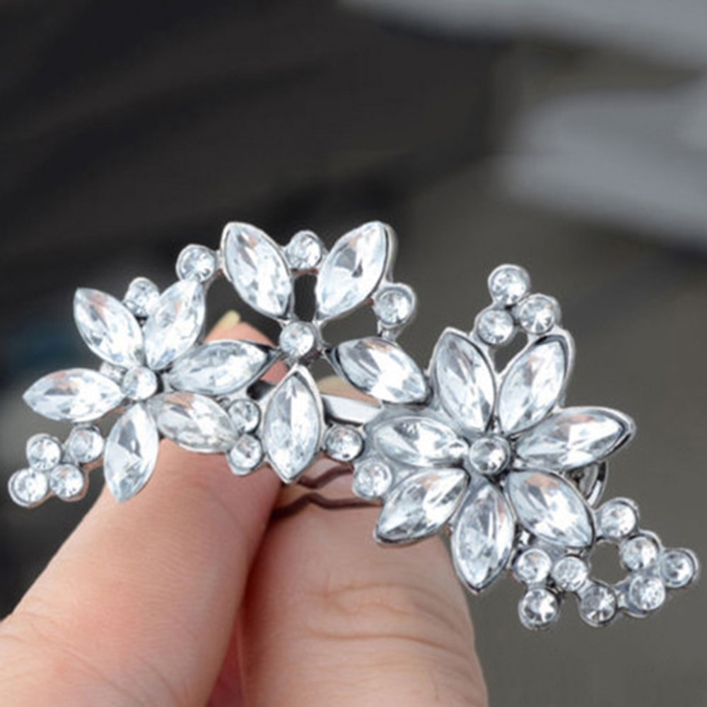 New Arrival 1x Women Wedding Retro Crystal Rhinestone Flower Headband Hairpins Hair Clip HOT