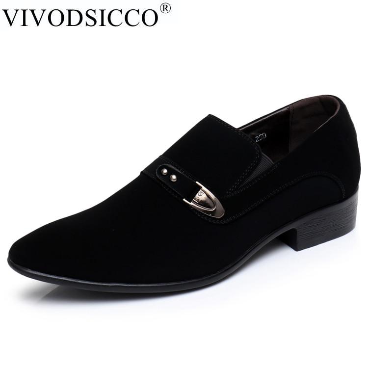 VIVODSICCO Fashion Men Casual Shoes Men Flats Slip On Male Dress Suede Oxfords Pointed Toe Men Leather Shoes Zapatillas Hombre ...