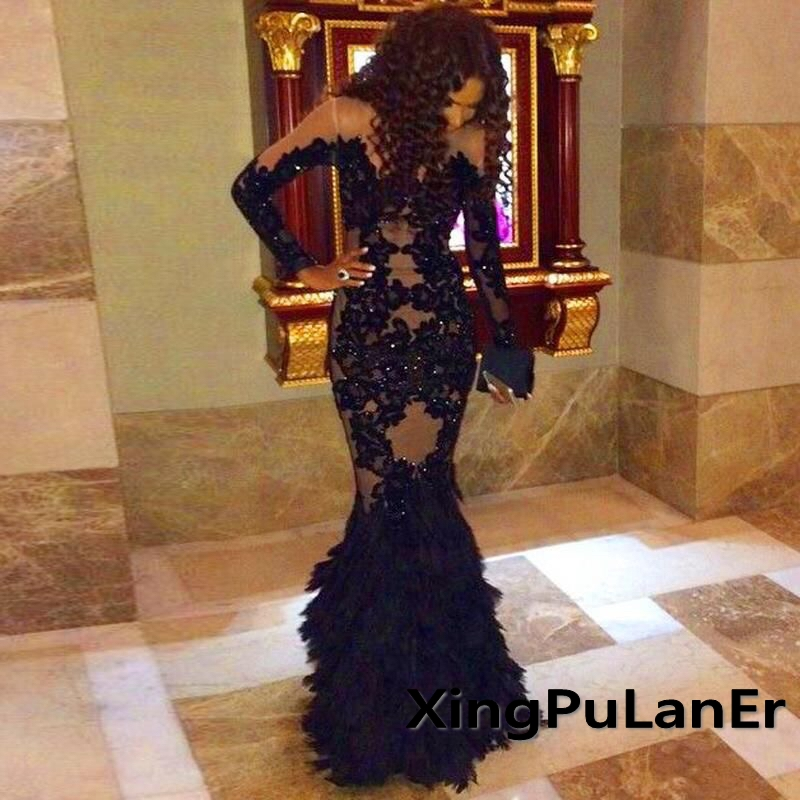 robe de soiree Mermaid Long Sleeves O Neck Black Lace Appliques Beads Evening Dress With Ostrich Feathers robe de soiree long