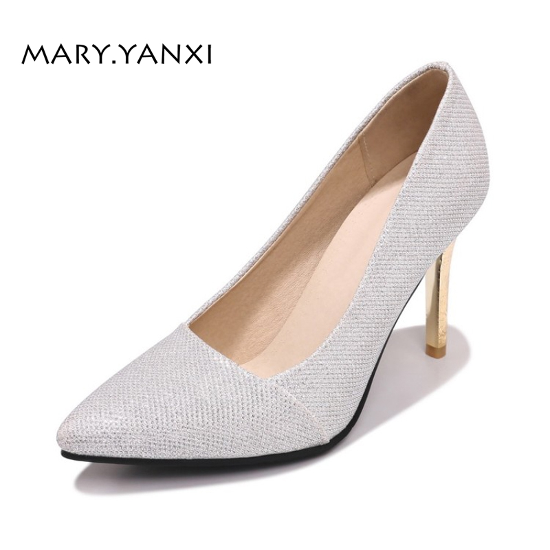 Spring/Autumn Women Plus Size Lazy Shoes Pumps Thin High Heels Pointed Toe Fashion Casual Slip-On Shallow Solid Sequined Cloth